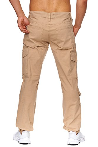 TAZZIO Styler Cargo Chino Stoff Hose ChiNoHose Slim Fit J-1012 Beige