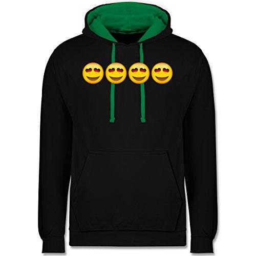 Comic Shirts - Verliebter Emoji Deutschland - Kontrast Hoodie Schwarz/Grün