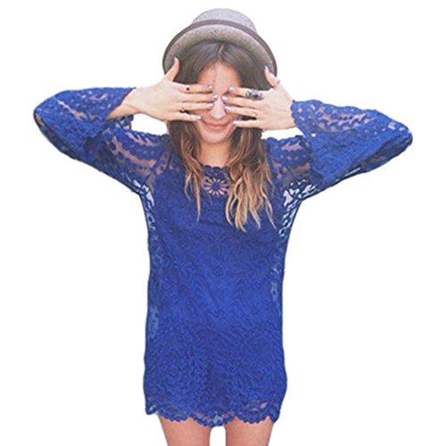 Dooxi Damen Lange Ärmel Spitze Mini Kleid Sommer Bikini Cover Up StrandKleider Saphir