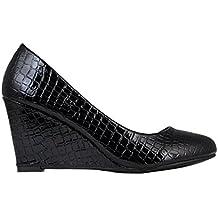 KRISP Zapatos Tacón Cuña Mediano Alto Tacones Básicos Clásicos Lisos Elegantes Salón