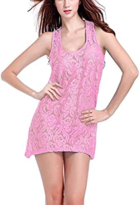 Vestido Para Mujer Sin Mangas Playa Corto Vestido Color Sólido Suelta Cuello Redondo