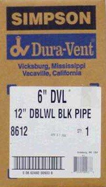 Duravent 8612 Schwarz Close Ausverkauf Double Wall Stove Pipe -