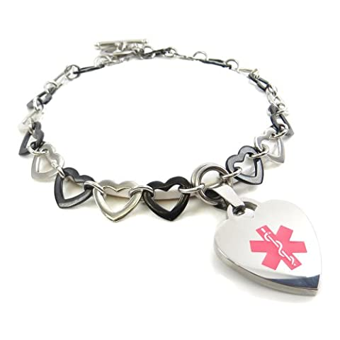 myiddr Médaille du diabète de type 1bascule Medical Alert, Bracelet