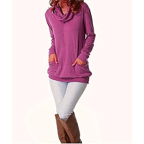 Femme à capuche, Feixiang exclusif customisation Fashion manches longues Bouton col châle décontracté fin Tunique TOPS avec poches S violet