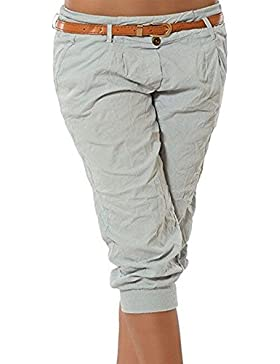 Datsven Pantalones Cortos para Mujer - Verano Fino Bolsillo Elástico de Algodón Mezcla Sólido 3/4 Pantalón Corto...