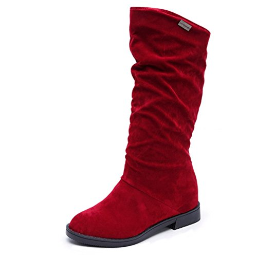 Damen Herbst Winter Stiefel Langschaftfstiefel Schlupfstiefel Klassische Elegante Boots LMMVP (Rot, 37 EU) (Knie Leder Flache Boot)