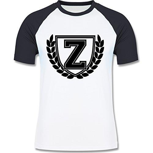 Anfangsbuchstaben - Z Collegestyle - zweifarbiges Baseballshirt für Männer Weiß/Navy Blau