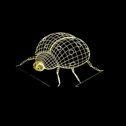 Lampe 7 Farben Ändern Stimmung 3D Lampe LED Kinder Geschenke Marienkäfer Nachtlicht Dekoration Insekt Schreibtischlampe Visuelle Lampe USB Port (Marienkäfer-fußball-ball)
