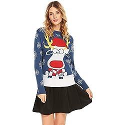Acevog Mujer Navidad Suéter de Manga Larga