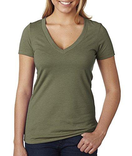 Next Level Ladies 'CVC Deep v-neck Tee (Military Green) (Medium) by NEXT LEVEL - Cvc V-neck Tee