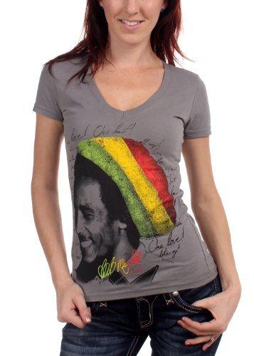 Bob Marley - Rasta Tam Da donna T-Shirt in Asphalt, Size: Small, Color: Asphalt