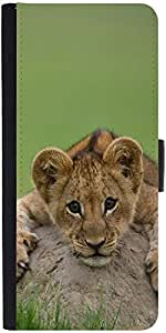 Snoogg Baby Lion Graphic Snap On Hard Back Leather + Pc Flip Cover Moto-X