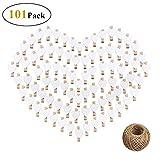 Reastar 100Stk Herz Wäscheklammer Holz Deko Klein Wäscheklammern mit 100m Jute Bindfaden zum Basteln und Bemalen (Weiß)
