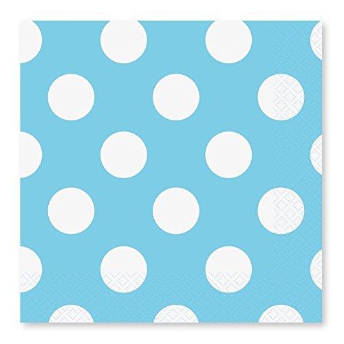 Takestop - Juego de 72servilletas de papel para fiestas, color azul con lunares, desechables, para cumpleaños, bodas, nacimientos, bautizos, fiestas