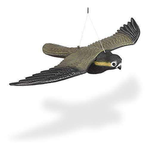 Relaxdays Vogelschreck Falke, fliegender Greifvogel als Vogelscheuche, Raubvogel Attrappe, Vogel lebensgroß, mehrfarbig -