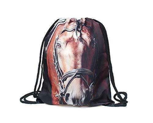 getrennster Pferde-Kopf Brauner - mit lustigem Spruch Aufdruck Sportbeutel lustige Sprüche Rucksack Beutel Tasche Gym Bag Hipster Fashion Sport-Tasche Einkaufs-Tasche RU-243 ()