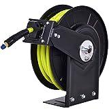 Blitzzauber 24 Automatischer Schlauchtrommel Schlauchaufroller Druckluftschlauch Aufroller Schlauchrolle Schlauchträger inkl. 15M Schlauch und Halterung für Garden Garage