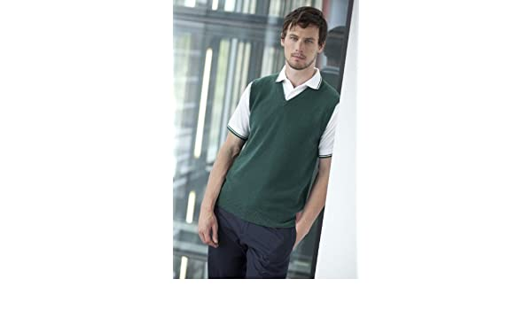 1022d12af5bde0 Henbury Sleeveless Lambswool V-Neck Jumper - Bottle Green - XL (44 46