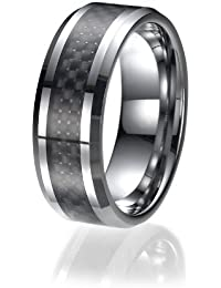 8mm Men's Tungsten Ring/ Wedding Band with Carbon Fiber Inlay