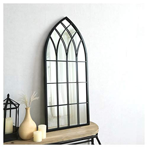 Mirror-DJJJZ Arqueado de Metal Espejo de la Ventana, Apenada Vintage Blanco / / Negro/Oro Gris, Paisajismo Decoración de Pared del Espejo for Jardines de Interior y de Exterior, Gran Altura 115 Cm