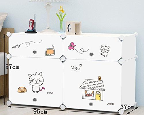 Flashing-DIY Multifonction en résine ABS Cabinet de lit en plastique, simple Cabinet de chevet moderne avec portes, casiers simples Armoires de rangement mini avec des autocollants ( taille : 95*37*57cm )