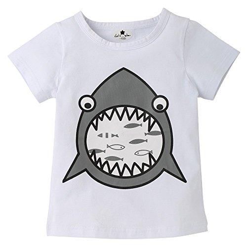 ng Overalls FüR Baby, Cartoon Brief Drucken Hai Print Short Sleeve Tops T Shirt Tees Kleidung ()