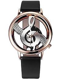 Relojes para mujer a la venta. Reloj de pulsera de cuarzo analógico con notas musicales y correa de piel para Navidad…