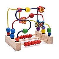 KangRuiZhe Beads Maze Roller Coaster Educational Toys for Toddlers, Baby Around Circle Bead Skill Improvement Wood Toys Birthday Gift for Boys & Girls