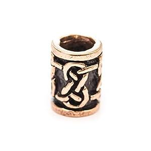 Battle-Merchant Bartperle Wikinger/Perle für Dreadlocks aus Bronze mit Unendlichkeitsknoten Innendurchmesser 5mm