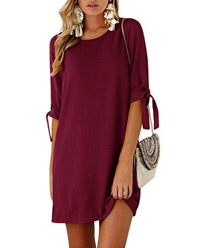 men Tshirt Kleid Rundhals Kurzarm Minikleid Kleider Langes Shirt Lose Tunika mit Bowknot Ärmeln Rotwein EU32-34(Kleiner als Reguläre Größe) ()