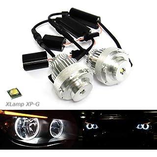 2x RZG White LED Angel Eye Headlight Halo Ring Daytime Light DRL 20W Canbus Bulb For E60 E61 5 Series LCI
