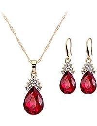 5934a2bf7aeb Scrox 2X Conjuntos de Joyas para Mujer con Forma de Gota de Agua (Rojo)
