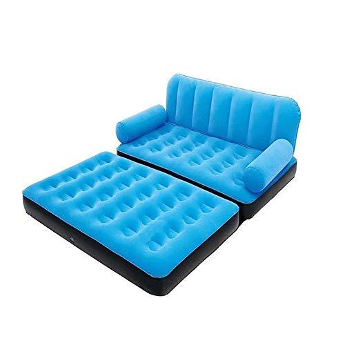 ZLZL 5 In 1 Faltbare Aufblasbare Multifunktions Doppel Luftbett Sofa Stuhl Couch Liege Matratze Mit Luftpumpe (5 In 1 Sofa Luftbett Couch),Blue - Doppel-liege Stuhl