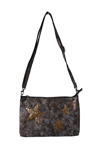 59a39c26595dc Damen Clutch Handtasche Bag Abendtasche Cross Over Glitzer Stern Metallic  (8383) (bronze metallic