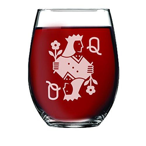 King und Queen ohne Stiel Wein Gläser, Pint Bier Glas, Whiskey Rocks Gläser Set für Bridal Dusche Geschenk, Hochzeit, Jahrestag, und Paare Stemless Wine 15oz Stemless Card Queen