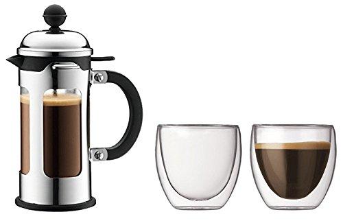Bodum 11170-16 New-Chambord Cafetière à Piston / Bec Verseur 3 Tasses 0,35 L + Set de 2 verres Pavina 8 cl