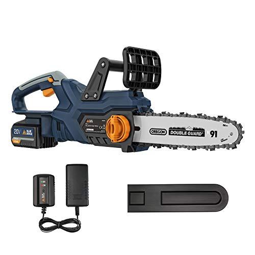 BlueRidge 18V Akku Kettensäge BR8350 4,0Ah Li-Ion-Akku Elektro Kettensäge 25cm Schwertlänge Motorsäge mit Kettenbremse Rückschlagschutz automatische Kettenschmierung für Holz und Gartenarbeit