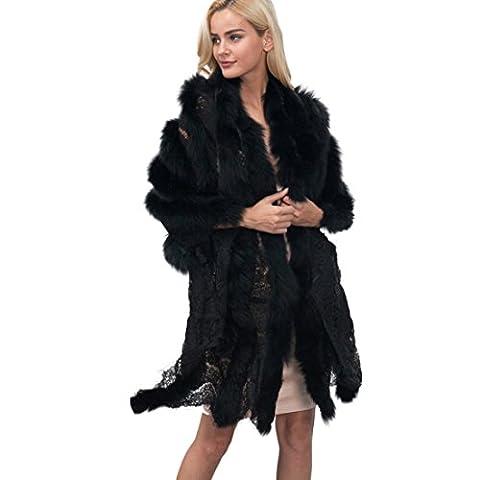 KunstpelzFaux Pelz Mantel Schal Langer✽ZEZKT✽Damen Wintermantel Poncho Pelzimitat Winter Mantel Elegant Schal (Free Size, Schwarz)