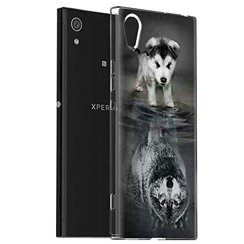 Pnakqil Funda Sony Xperia XA1, Silicona Transparente con Dibujos Diseño Slim Suave TPU Antigolpes Ultrafina de Protector Piel Case Cover Bumper Cárcasa Fundas para Sony XperiaXA1, Lobo Perro