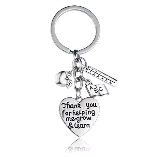 GANGXIA Schlüsselbund Apple Keychain Danke, DASS Sie Mir helfen, zu wachsen und zu Lernen Lineal Buch Charme Anhänger Schlüsselbund Herz Schlüsselanhänger Schlüsselanhänger Geschenk Lehrer