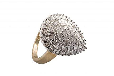 B-Jeweled 9K Yellow Gold Fancy Pear Shaped Cluster with Baguette and Round Brilliant Style 0.50ct H/I1 Diamond Ring