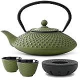 Bredemeijer Teekanne asiatisch Gusseisen Set grün 1,25 Liter mit Tee-Filter-Sieb und Stövchen inkl. Teebecher - Serie Xilin