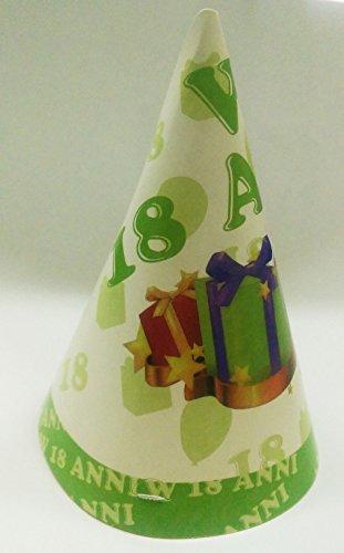 takestop® Set 18Stück Hut Hüte von Papier Kegel für Party 18Jahre weiß grün Geschenke Cap Einweg Geburtstag Geburtstag Party Party (Kegel-party-hüte Weiß)