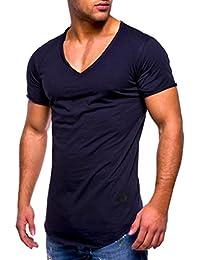 e570dec072b0f Camisas hombre Collar de v manga corta Casual puro color camiseta