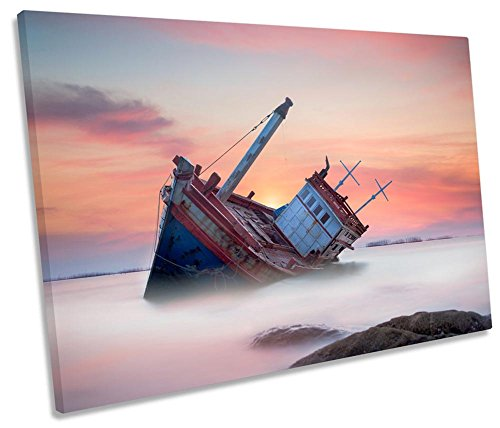 Canvas Geeks Leinwandbild, Motiv: Strandboot Sonnenuntergang, 1 Stück, 75cm Wide x 50cm high
