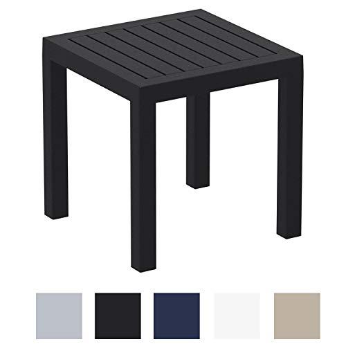 CLP Beistelltisch Ocean I Wetterfester Gartentisch aus UV-beständigem Kunststoff I witterungsbeständiger Tisch Schwarz