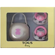 Tous Baby Set 2 Chupetes + Portachupetes Ref. BEAR-302 Color 047 Osito Rosa