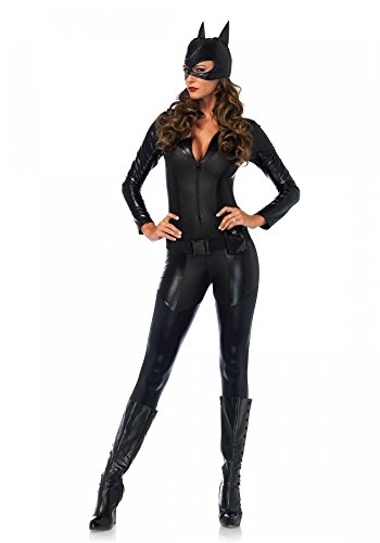 Captivating Crime Fighter Damen-Kostüm Leg Avenue Catsuit Batman Catwoman Katze, (Catwoman Halloween Kostüme)