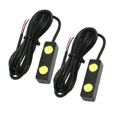 Price comparison product image DealMux Pair 2 LED 2W Eagle Eye Bright White Car Auto Tail Backup Reverse Light