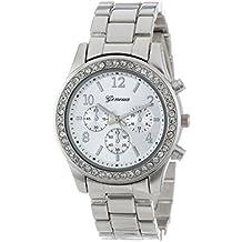 Valentinstag Uhren DELLIN Faux-Chronograph-Quarz überzog klassische runde Dame-Frauen-Kristall-Uhr (Silber)